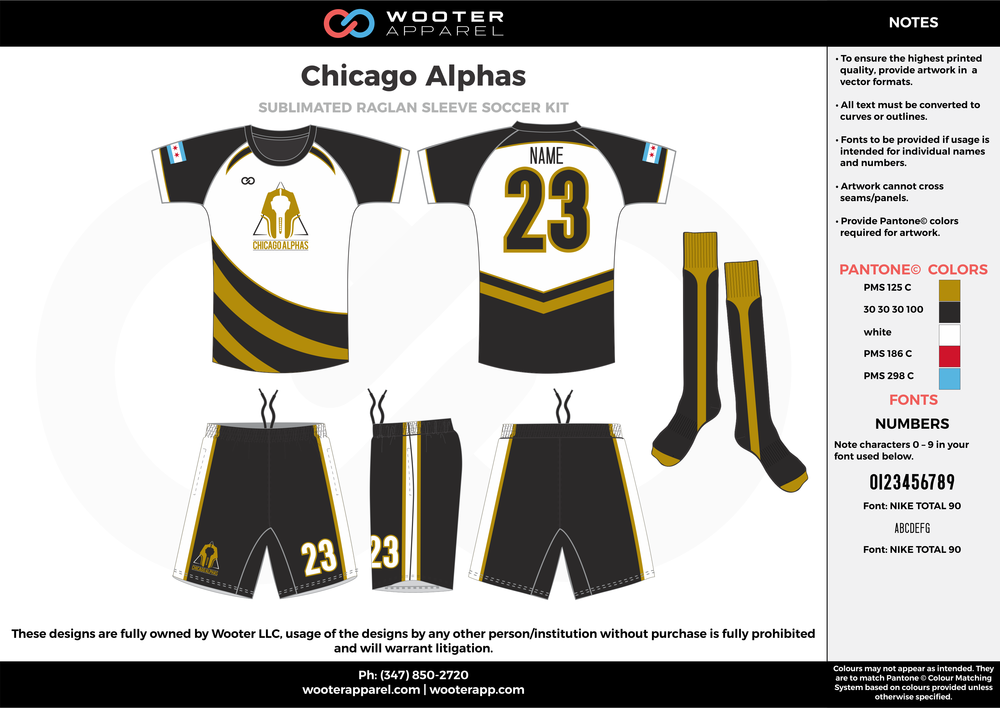 Chicago Alphas white olive green black custom sublimated soccer uniform jersey shirt shorts socks