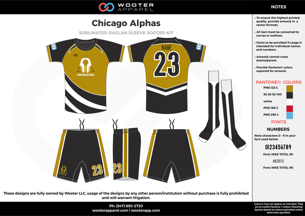 Chicago Alphas black olive green white custom sublimated soccer uniform jersey shirt shorts socks