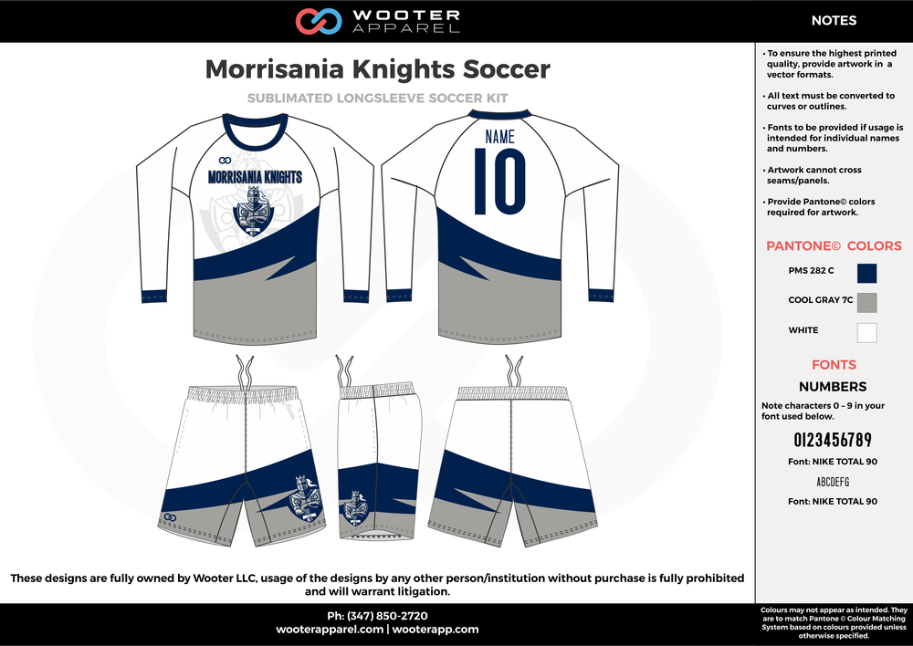 Morrisania Knights white blue gray custom sublimated soccer uniform jersey long sleeve shorts