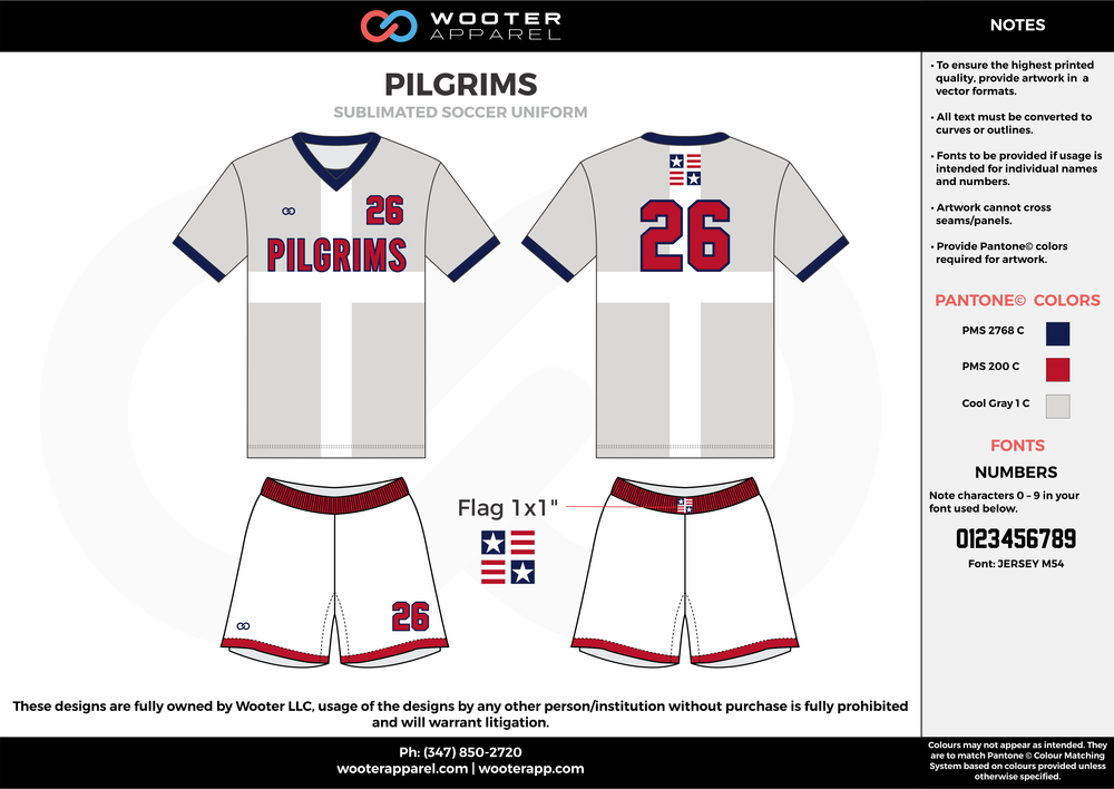 PILGRIMS blue red cool gray custom sublimated soccer uniform jersey shirt shorts