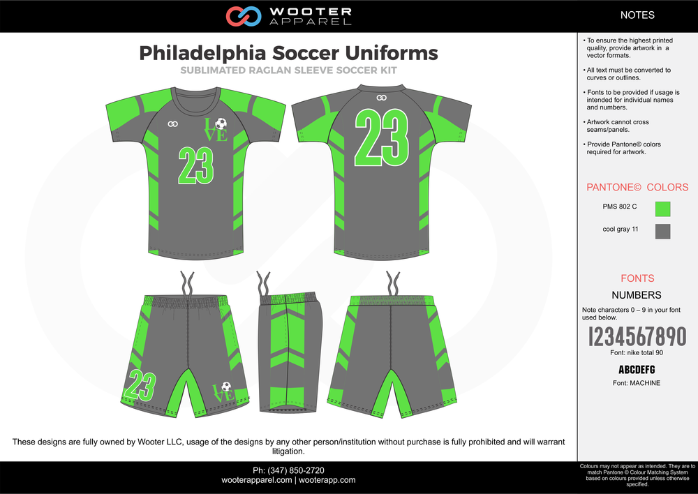 Philadelphia green cool gray custom sublimated soccer uniform jersey shirt shorts