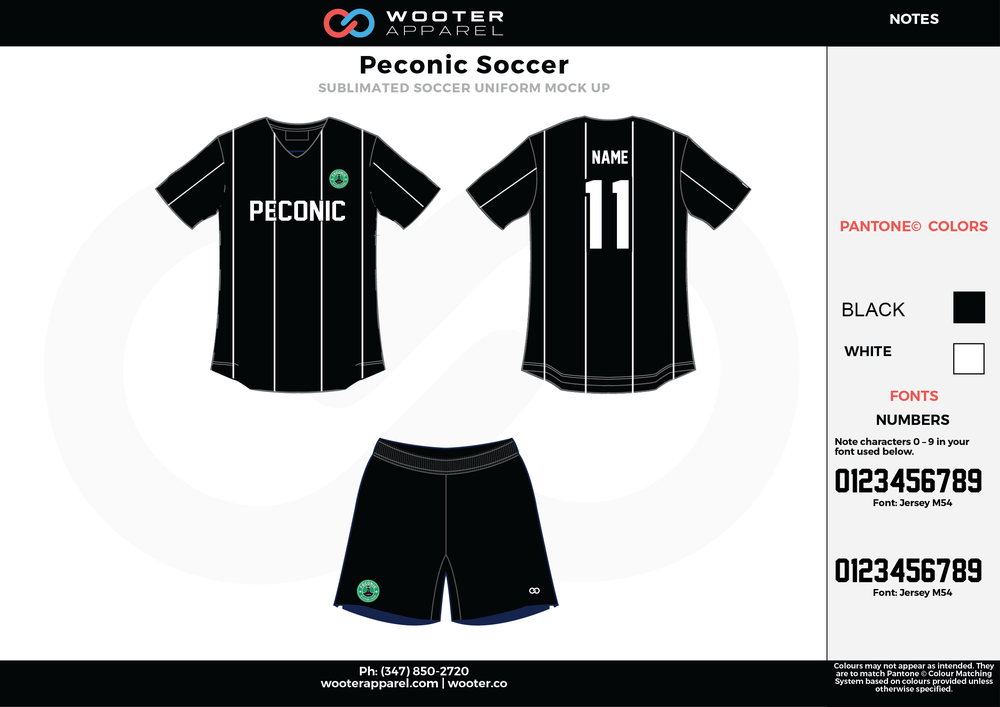 Peconic black white custom sublimated soccer uniform jersey shirt shorts