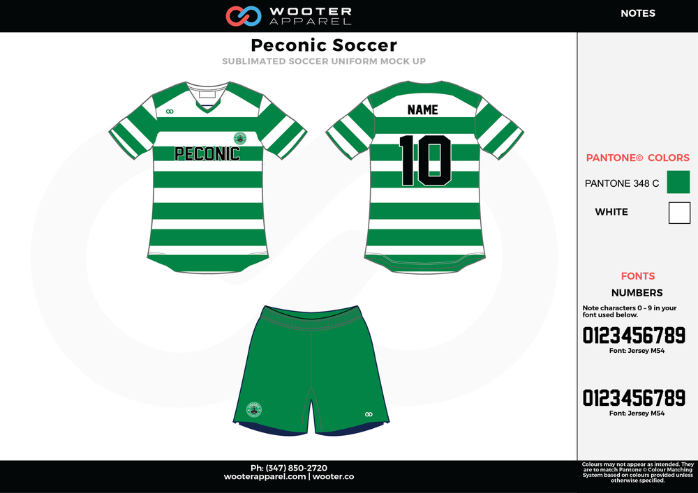 Peconic green white custom sublimated soccer uniform jersey shirt shorts