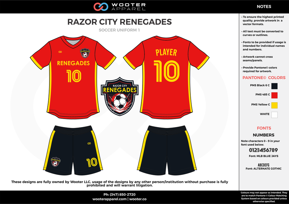 RAZOR CITY RENEGADES red black yellow custom sublimated soccer uniform jersey shirt shorts
