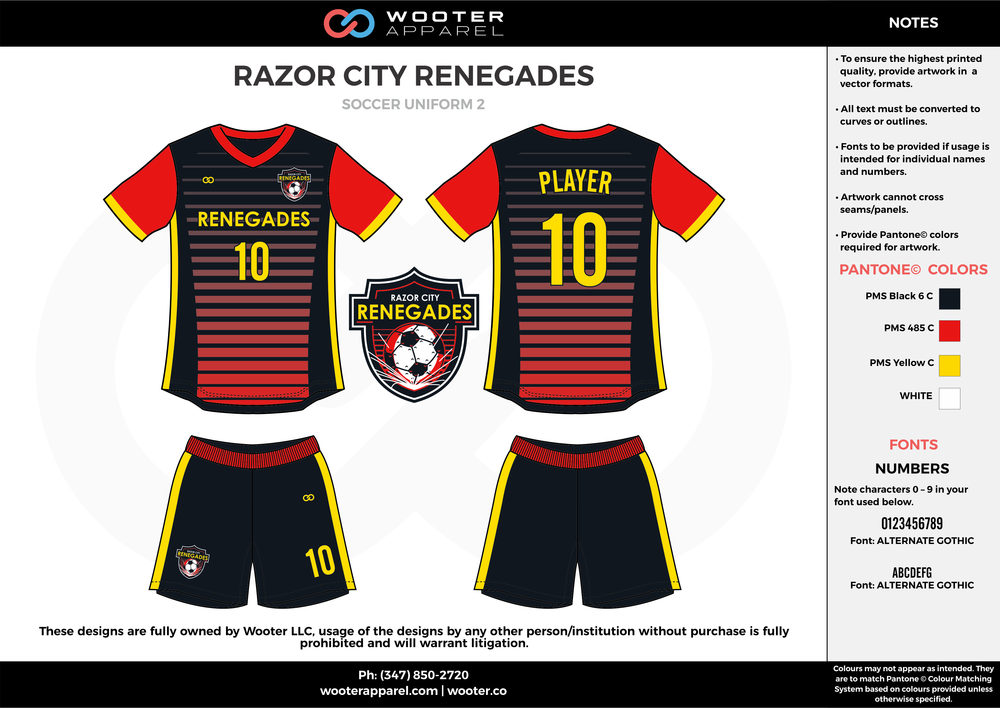 RAZOR CITY RENEGADES black red yellow custom sublimated soccer uniform jersey shirt shorts