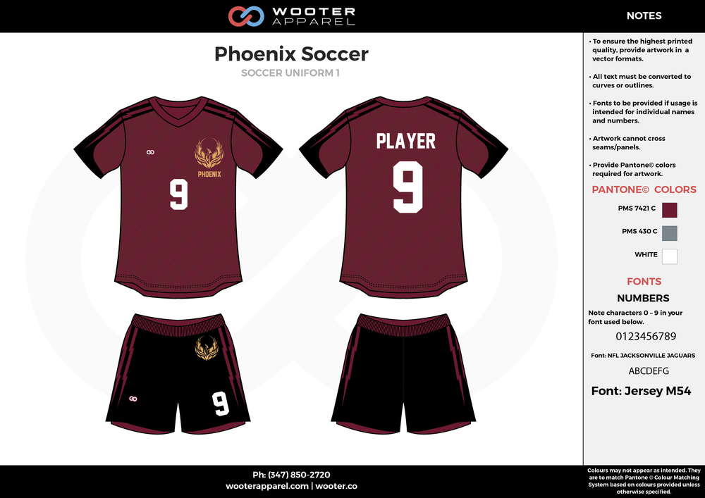 Phoenix maroon black white custom sublimated soccer uniform jersey shirt shorts