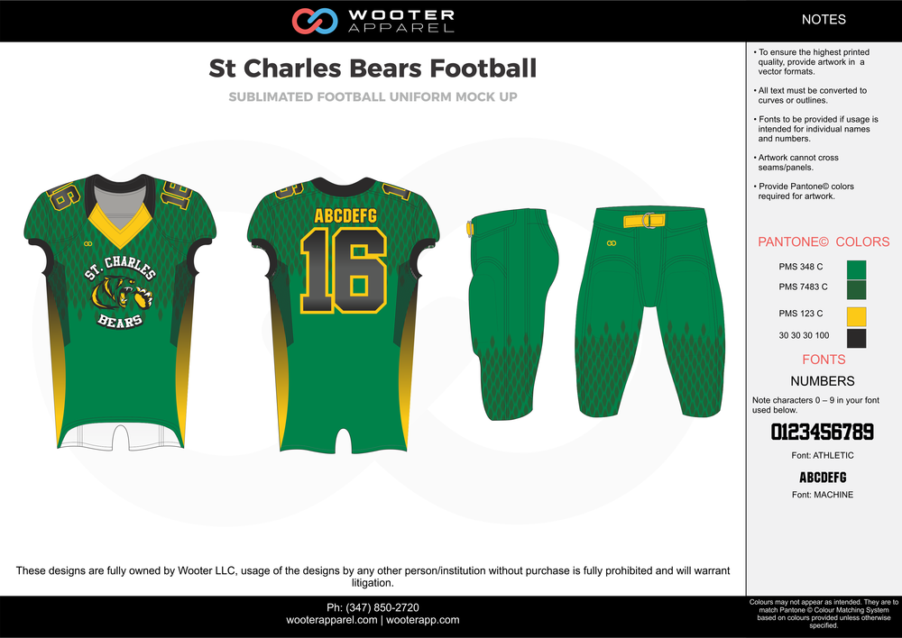 St Charles Bears green yellow black grey football uniforms jerseys pants