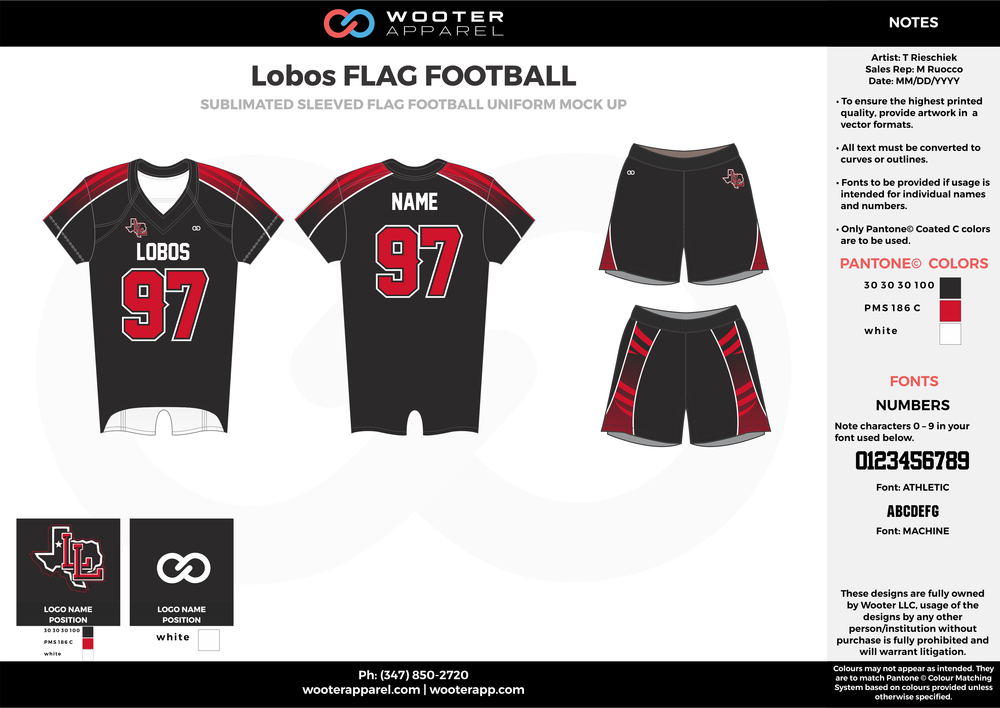 LOBOS FLAG FOOTBALL red white black football uniforms jerseys shorts