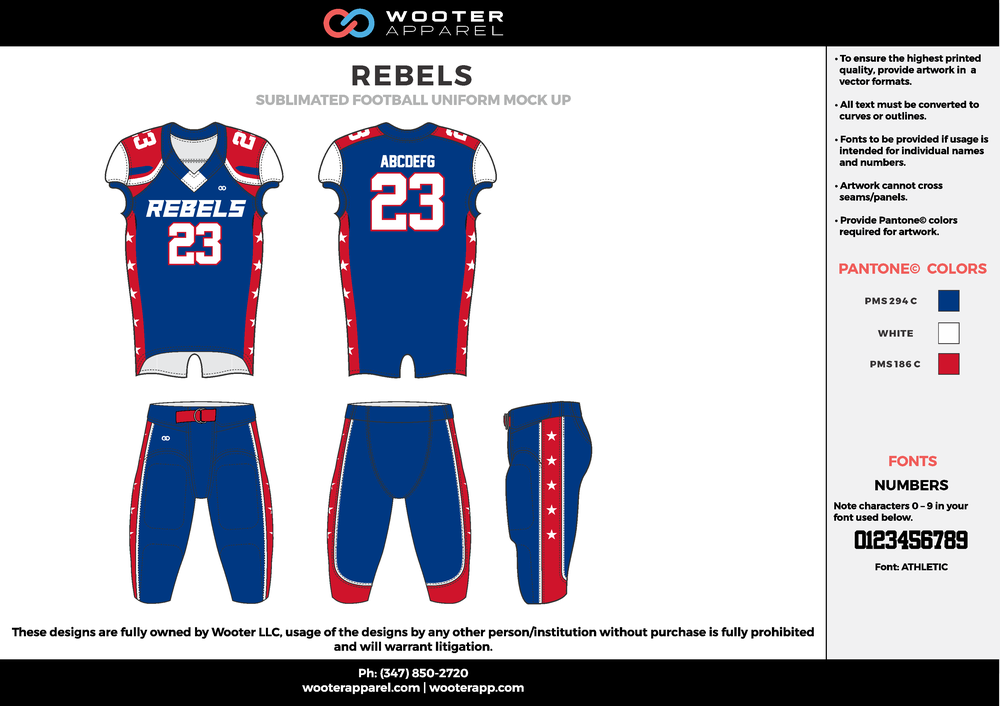 REBELS blue red white football uniforms jerseys pants
