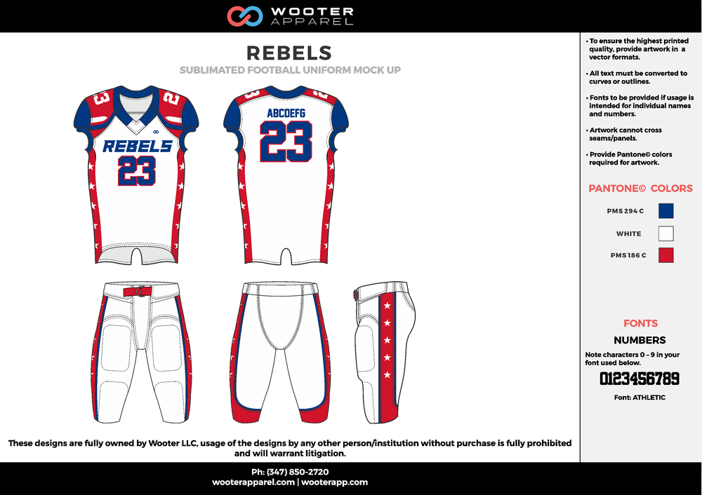 REBELS white blue red football uniforms jerseys pants