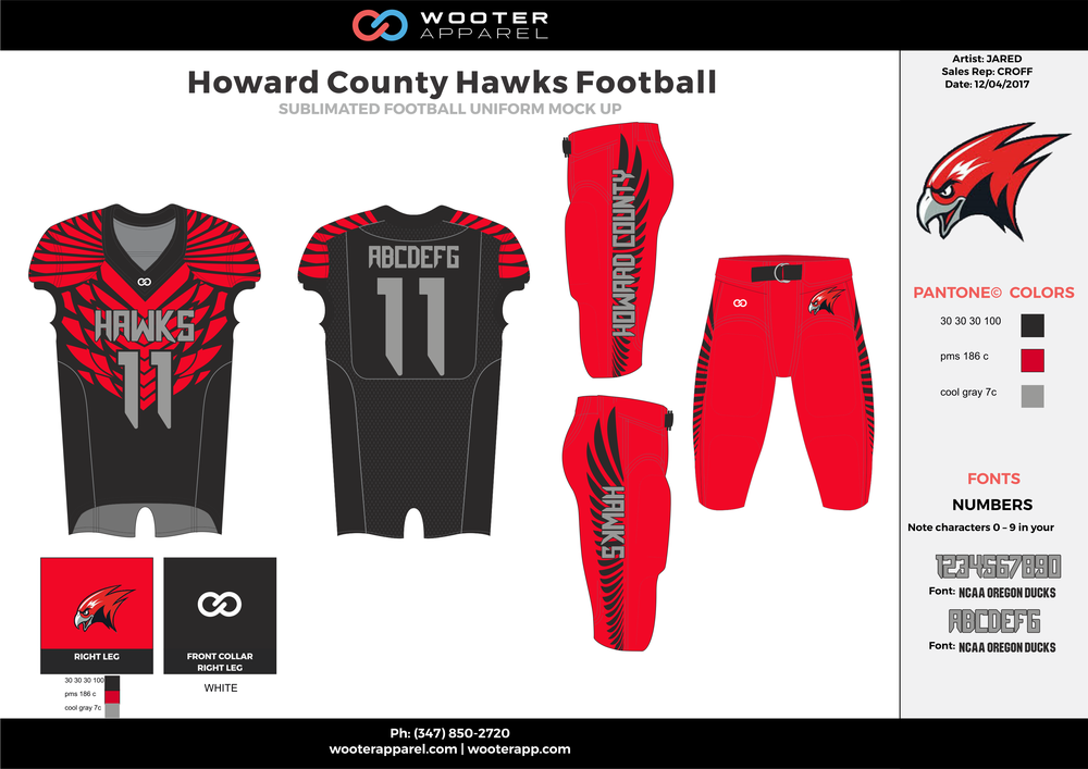 HOWARD COUNTY HAWKS red black gray football uniforms jerseys pants