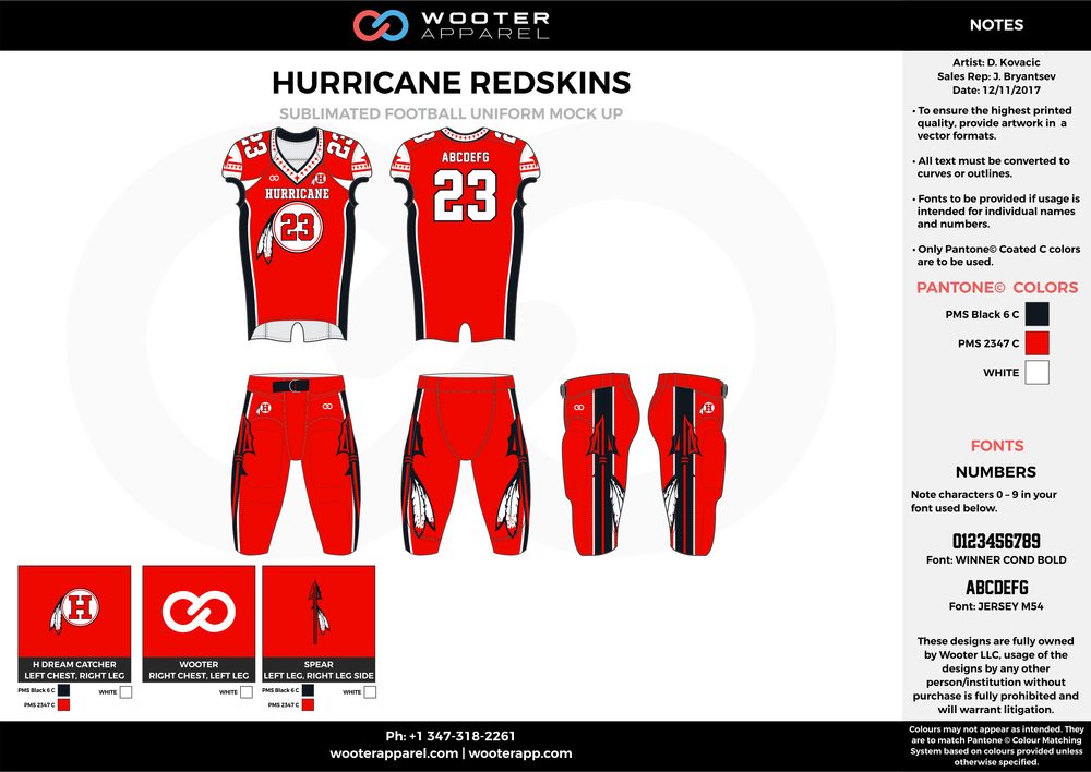 HURRICANE REDSKINS red black white football uniforms jerseys pants