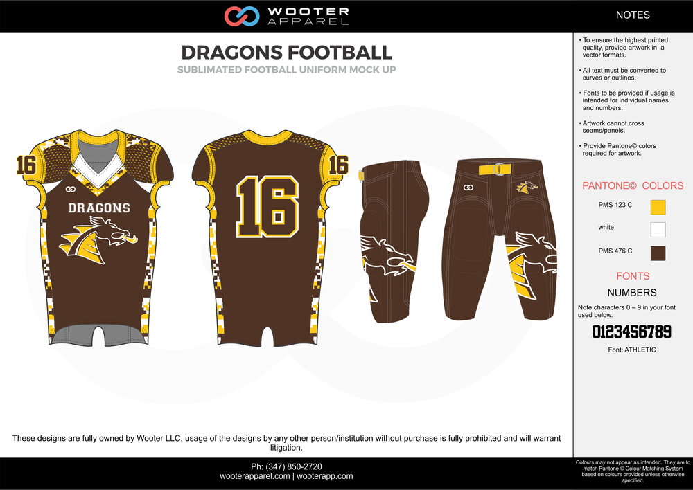 DRAGONS FOOTBALL yellow brown white football uniforms jerseys pants