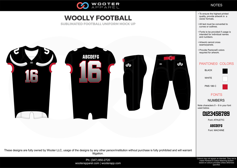 WOOLLY FOOTBALL black red white football uniforms jerseys pants