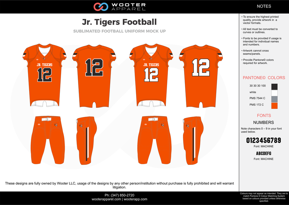 Jr. Tigers Football orange white black gray football uniforms jerseys pants