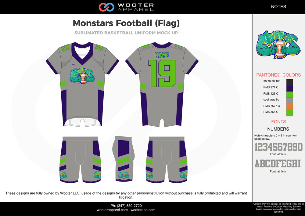 Monstars Football (Flag) gray green blue football uniforms jerseys shorts