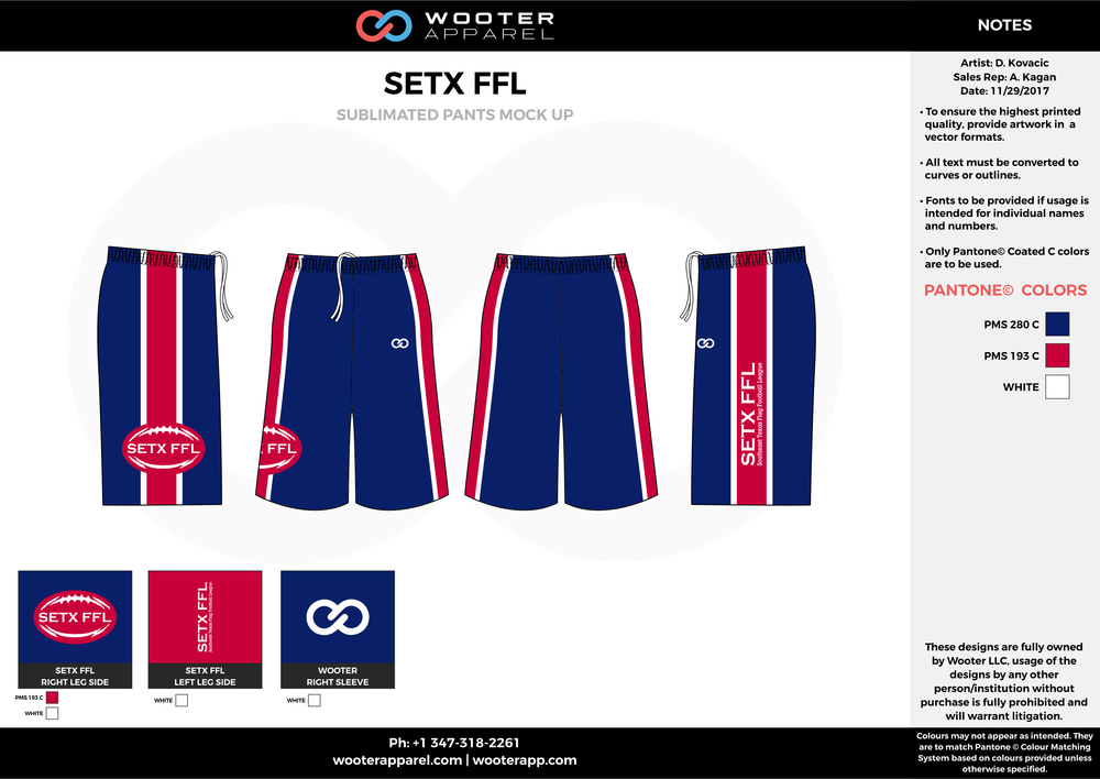 SETX FFL blue red white football uniforms jerseys pants