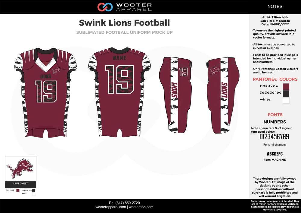 Swink Lions Football maroon white black football uniforms jerseys pants