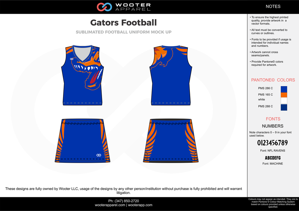 Gators Football blue orange white football uniforms jerseys skirts