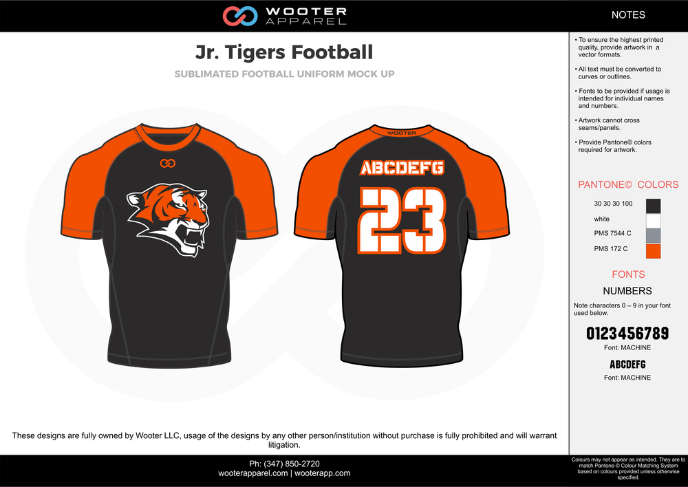 Jr. Tigers Football black orange gray white football uniforms jerseys top