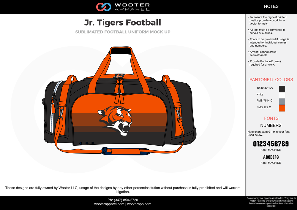 Jr. Tigers Football black orange gray white football uniforms jerseys bag