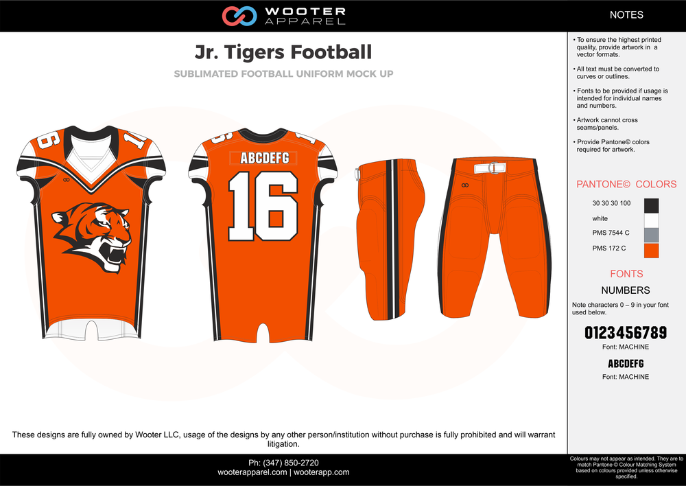 Jr. Tigers Football orange gray white black football uniforms jerseys pants