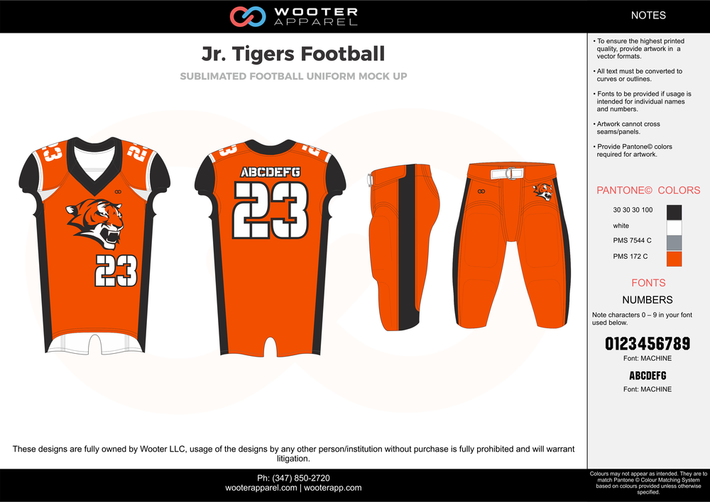 Jr. Tigers Football orange black white gray football uniforms jerseys pants