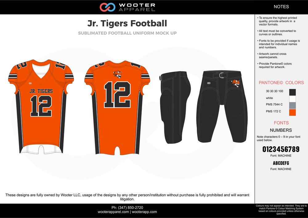Jr. Tigers Football orange black gray white football uniforms jerseys pants