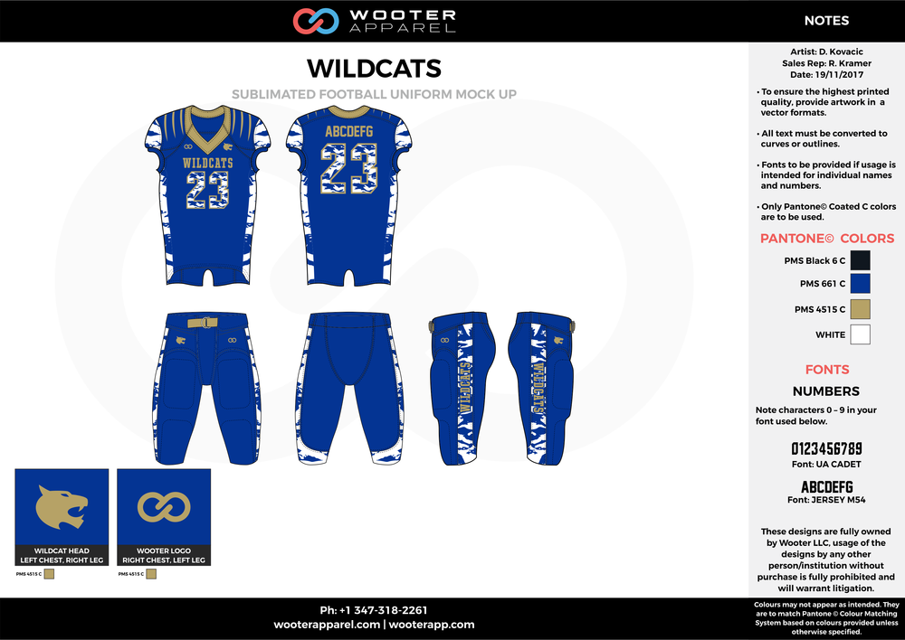 WILDCATZ blue white gold black football uniforms jerseys pants