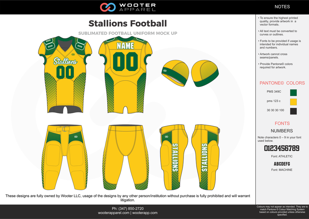 Stallions Football yellow green white football uniforms jerseys pants