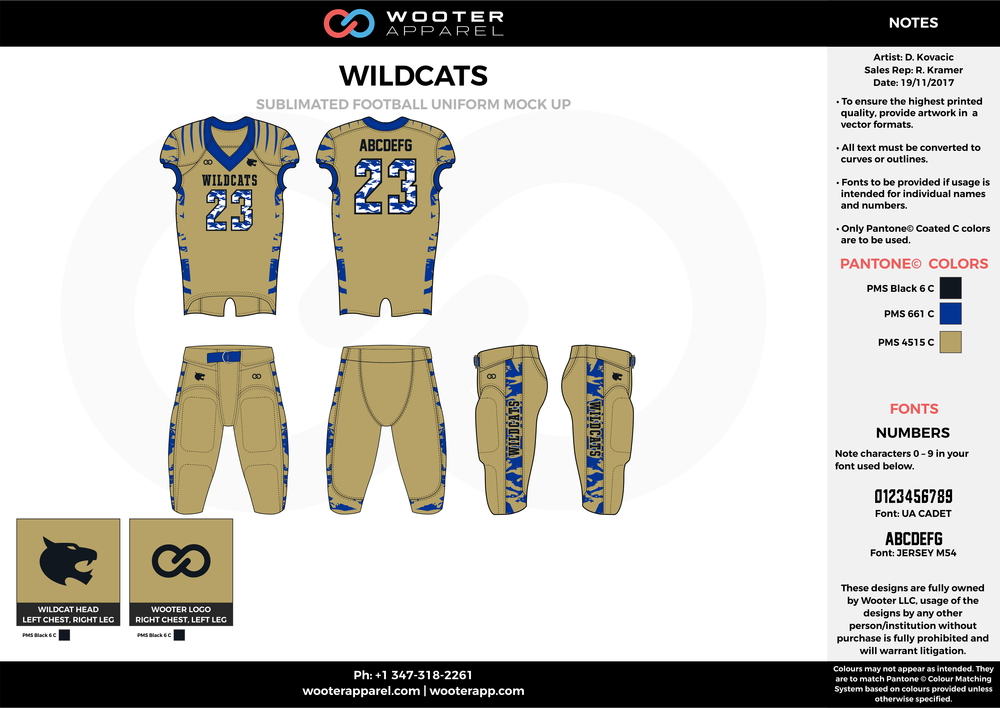 WILDCATZ khaki blue black football uniforms jerseys pants