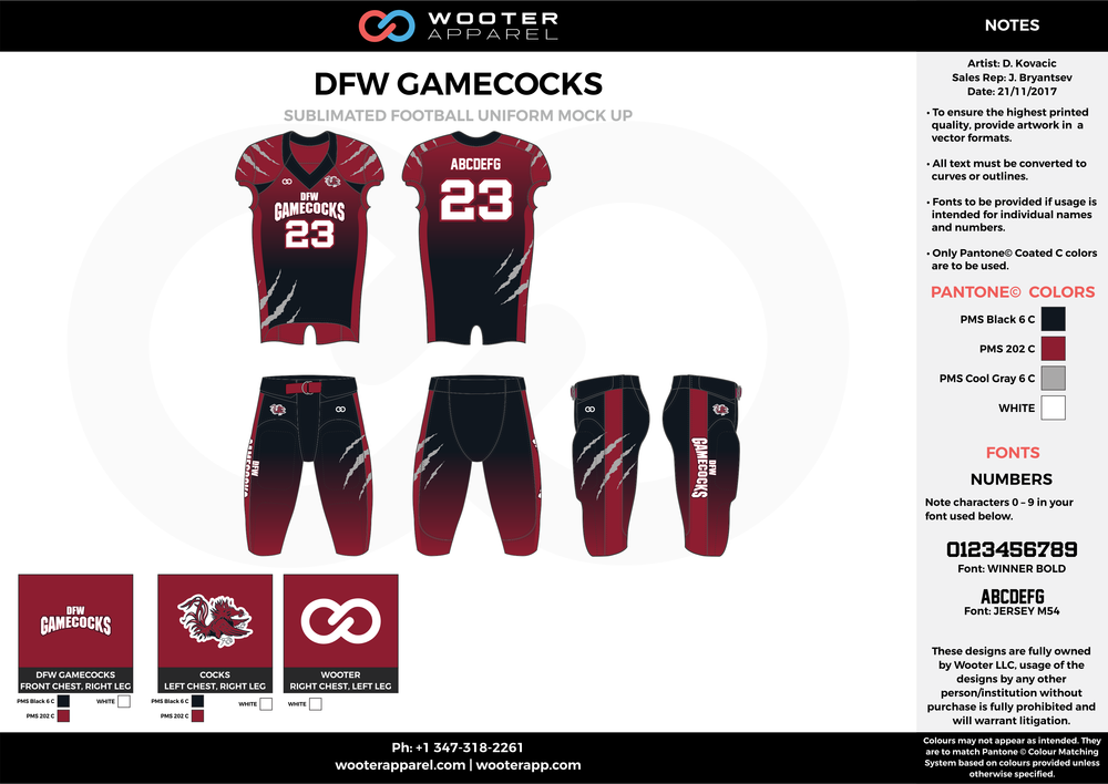 DFW GAMECOCKS red black gray white football uniforms jerseys pants