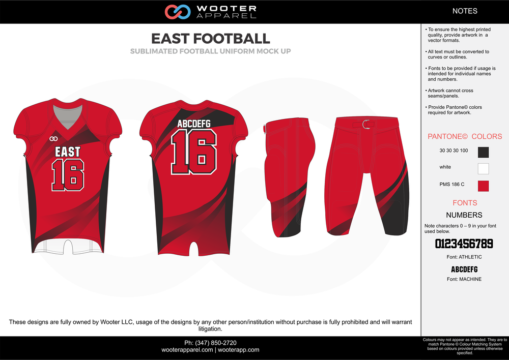 EAST FOOTBALL red black white football uniforms jerseys pants