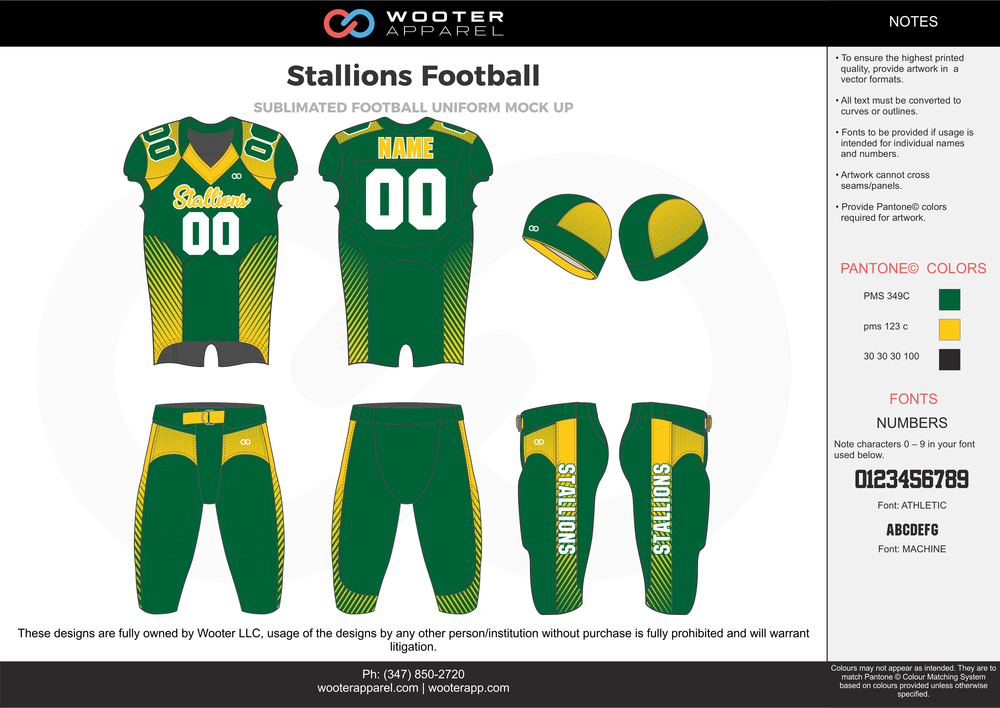 Stallions Football green yellow white football uniforms jerseys pants