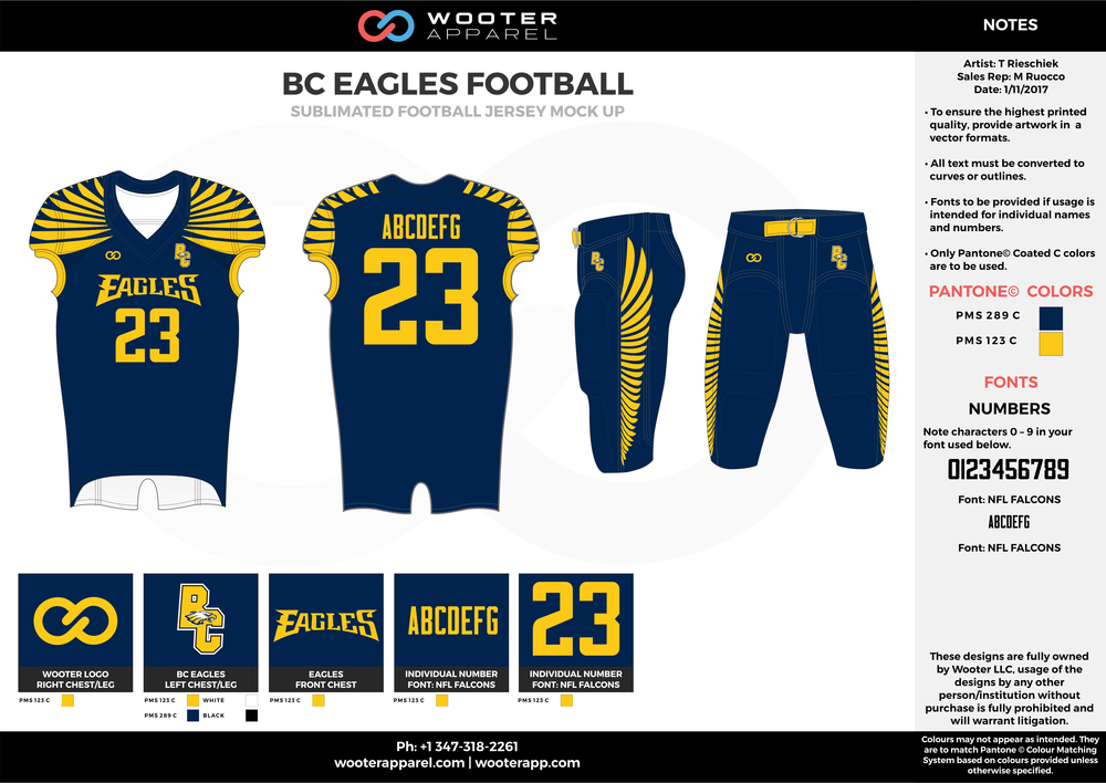 BC EAGLES FOOTBALL blue yellow football uniforms jerseys pants