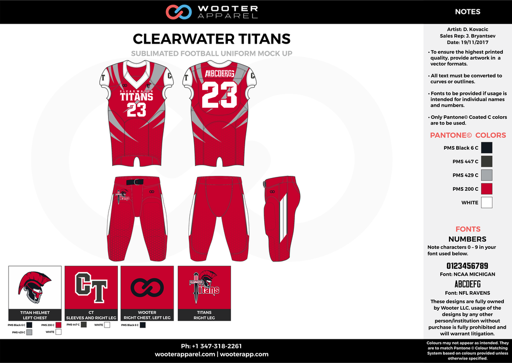 CLEARWATER TITANS red gray white football uniforms jerseys pants