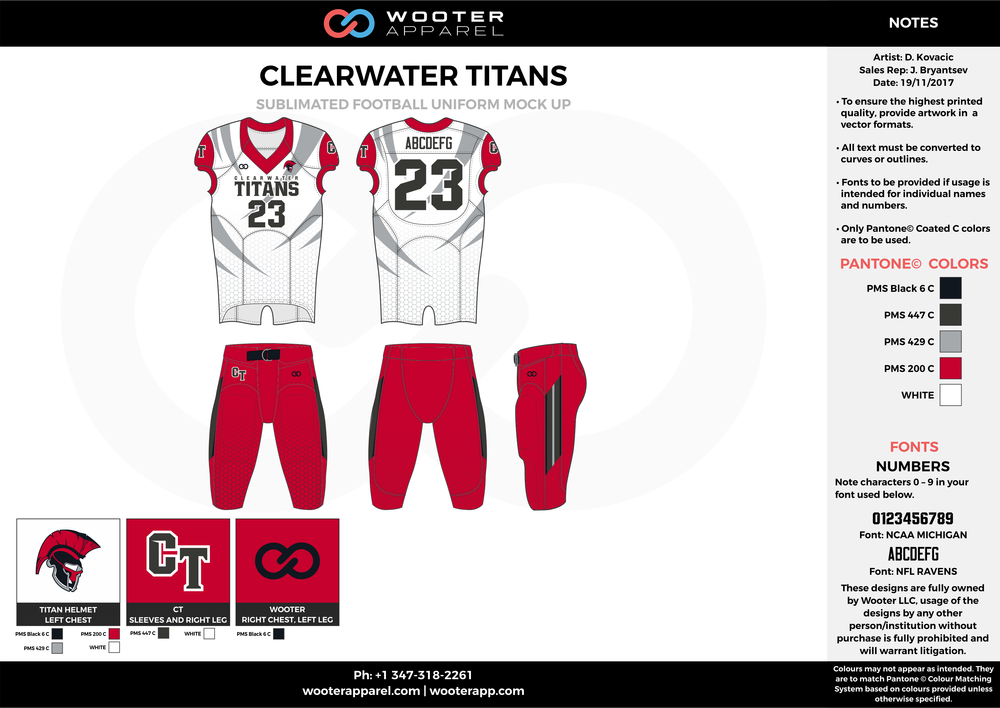 CLEARWATER TITANS red white gray black football uniforms jerseys pants