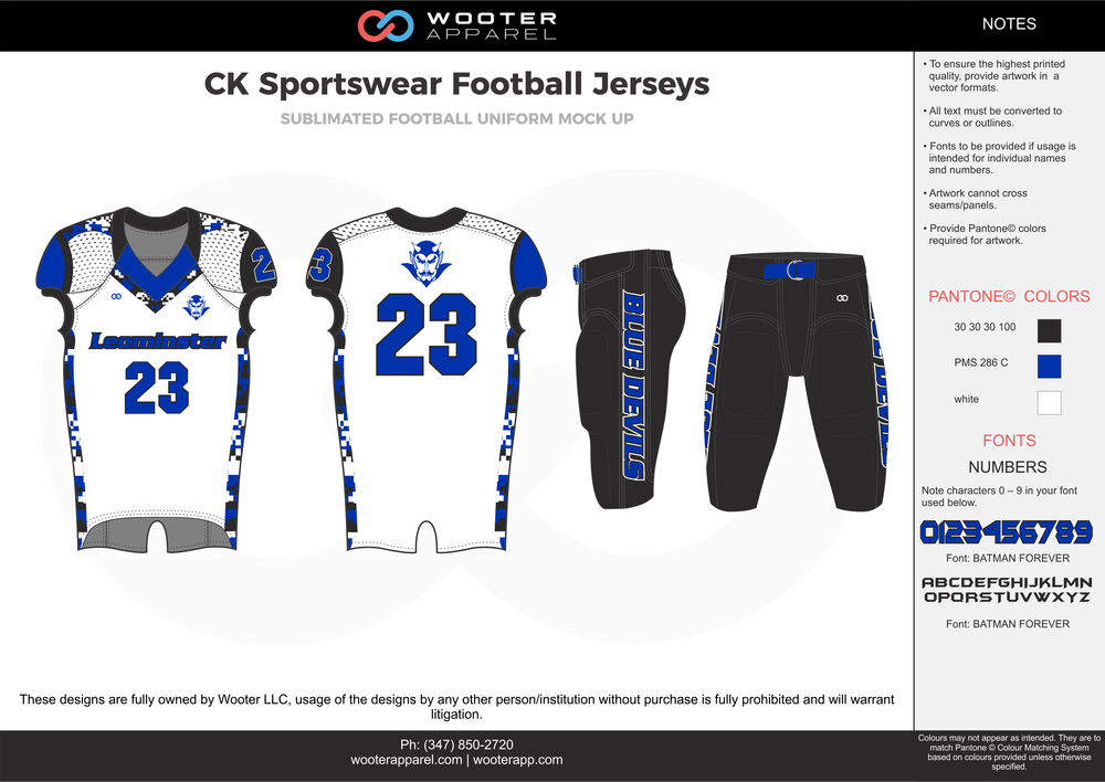 CK Sportswear black white blue football uniforms jerseys pants