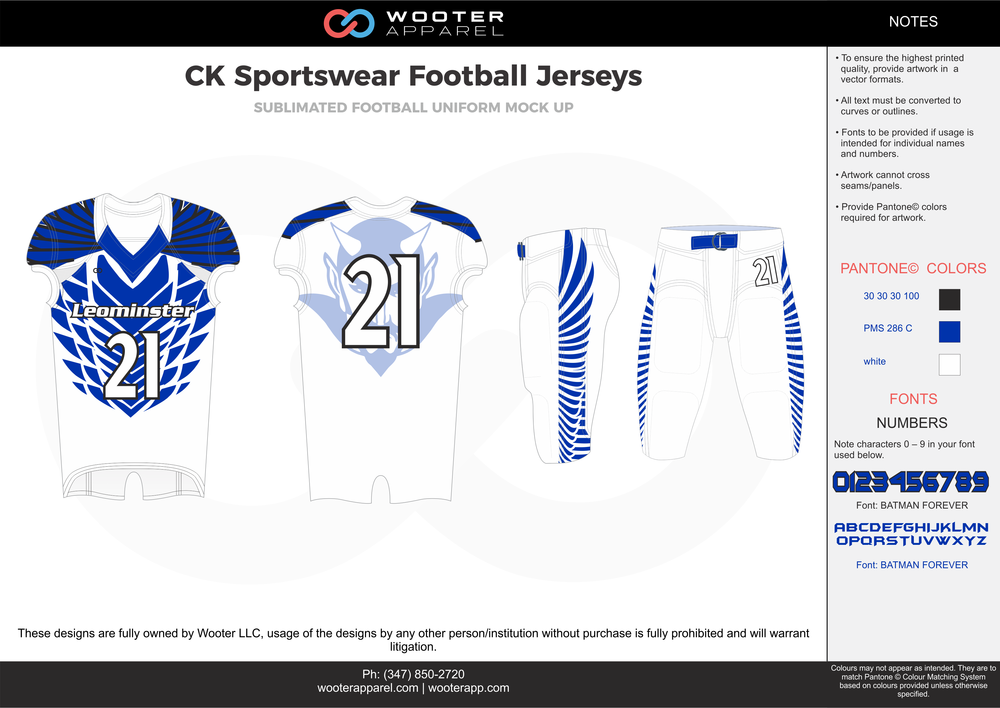 CK Sportswear white blue football uniforms jerseys pants