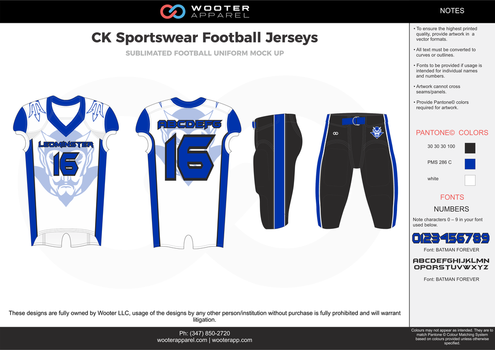 CK Sportswear white blue black football uniforms jerseys pants