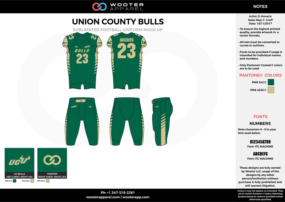 UNION COUNTY BULLS green beige football uniforms jerseys pants