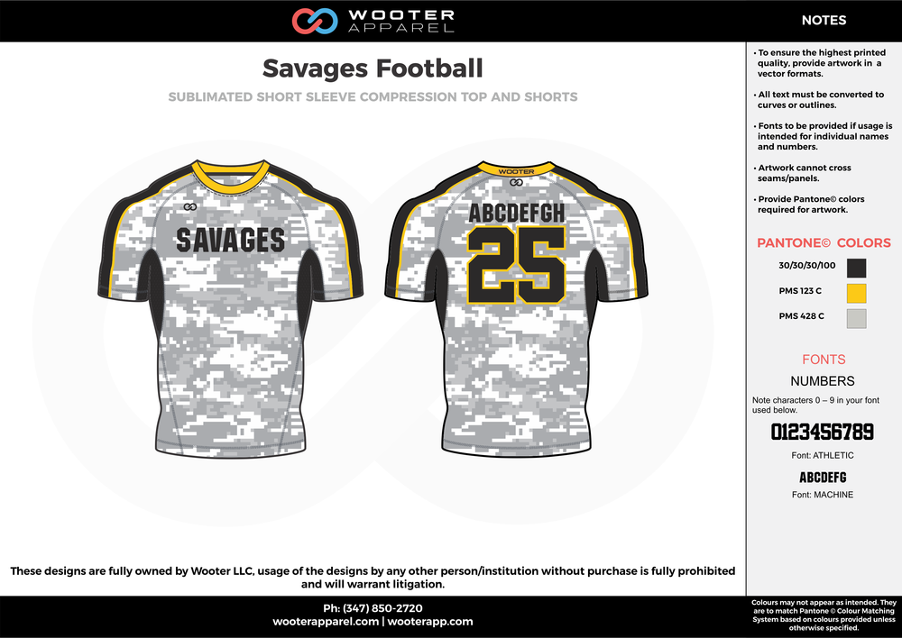 Savages Football white gray yellow football uniforms jerseys top