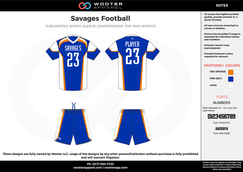 Savages Football blue white orange football uniforms jerseys shorts