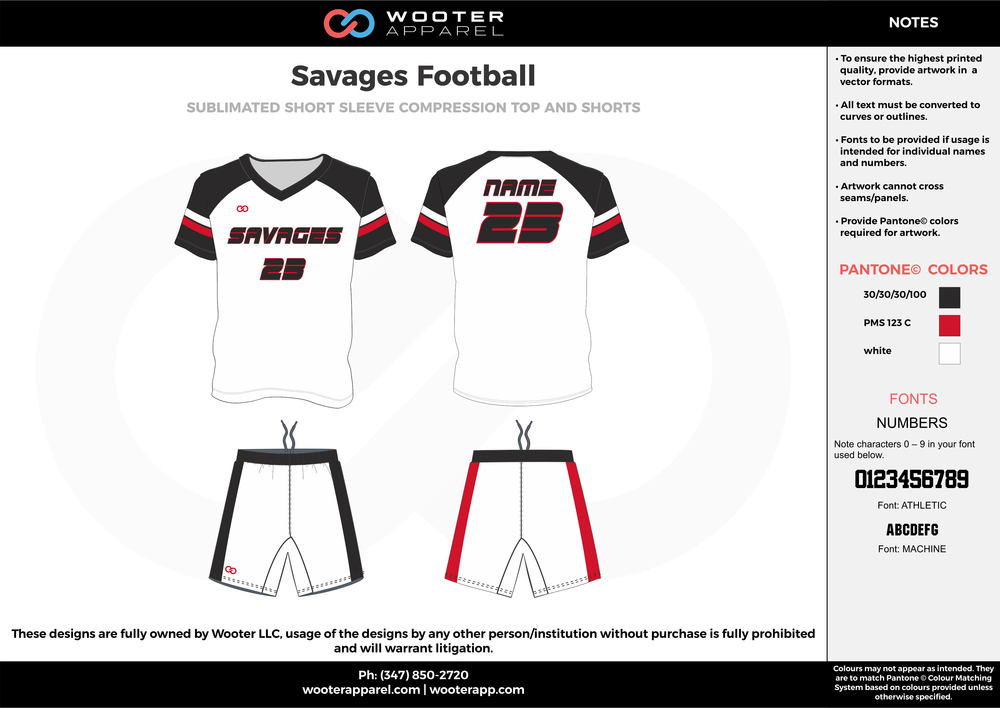 Savages Football white red black football uniforms jerseys shorts