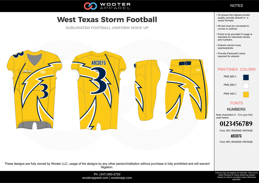 West Texas Storm yellow blue white football uniforms jerseys pants