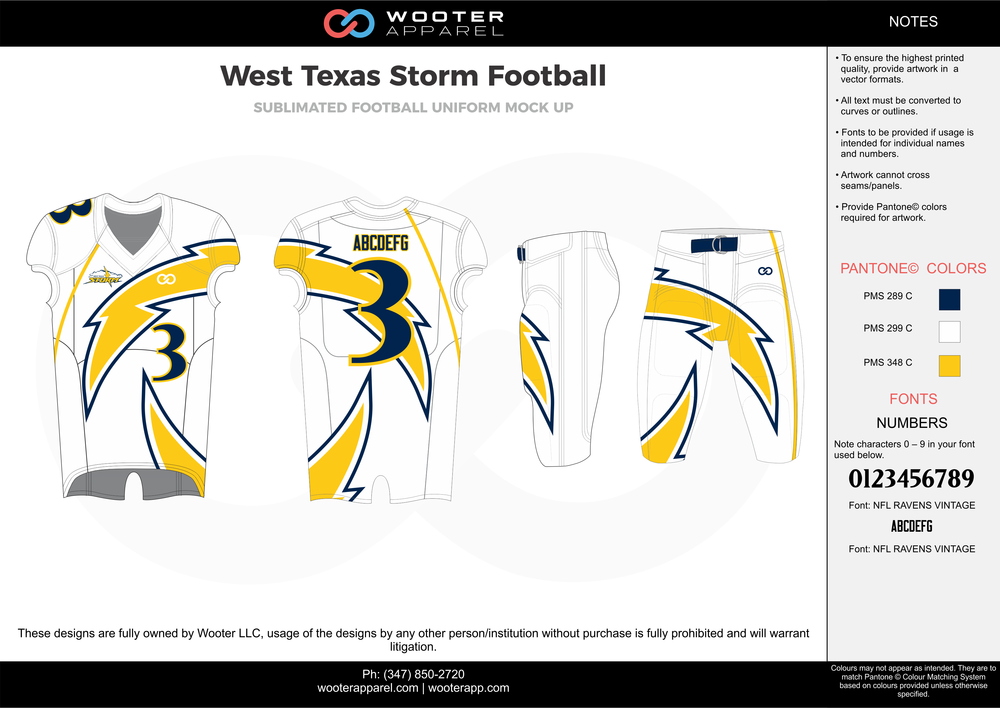 West Texas Storm white yellow blue football uniforms jerseys pants