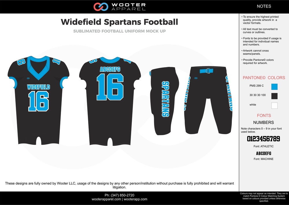Widefield Spartans black blue white football uniforms jerseys pants