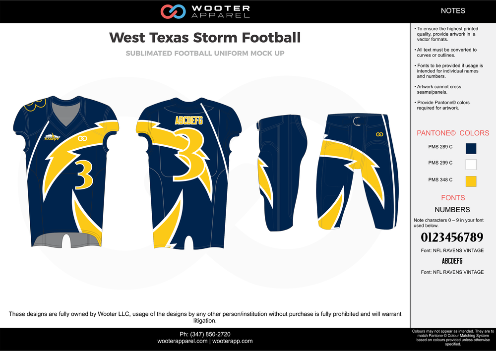 West Texas Storm blue yellow white football uniforms jerseys pants
