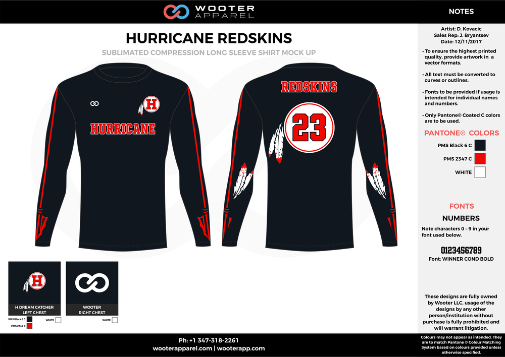 HURRICANE REDSKINS red black white football uniforms jerseys long sleeve