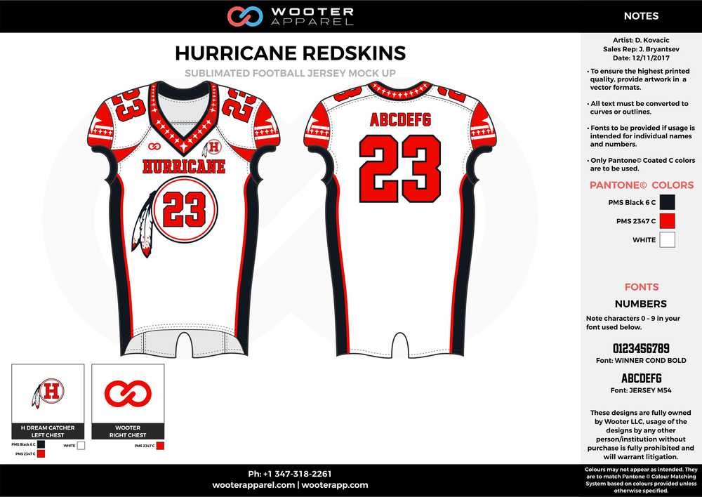 HURRICANE REDSKINS white red black football uniforms jerseys top